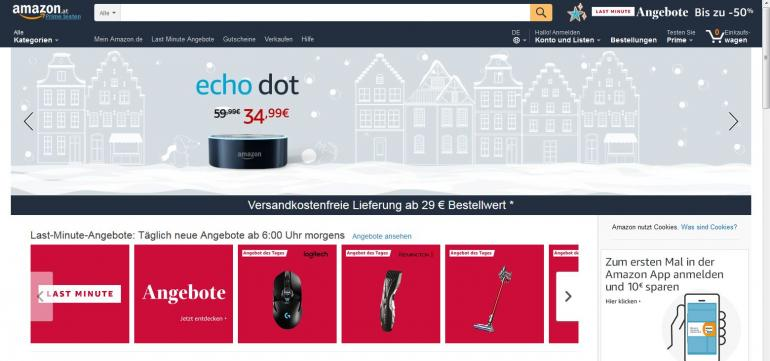 Screenshot Amazon-Homepage (Bild: Screenshot)
