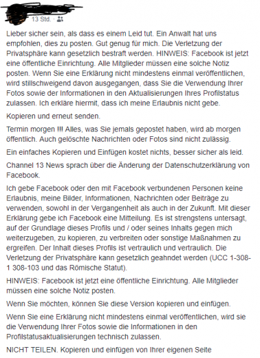 Screenshot Facebook Kettenbrief (Bild: Screenshot/Facebook, Montage: Brindlmayer/VKI)